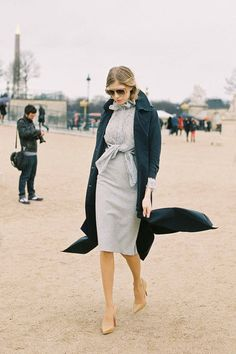 Elena Perminova chic in a grey ruffle shirt &  matching pencil skirt #StreetStyle