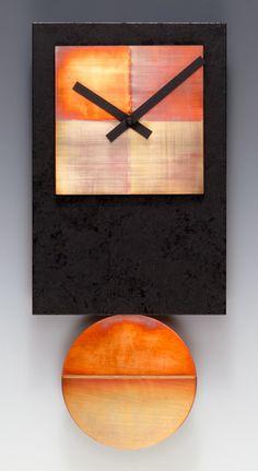 Black Tie Pendulum Clock with Copper: Leonie Lacouette: Metal & Wood Clock - Artful Home