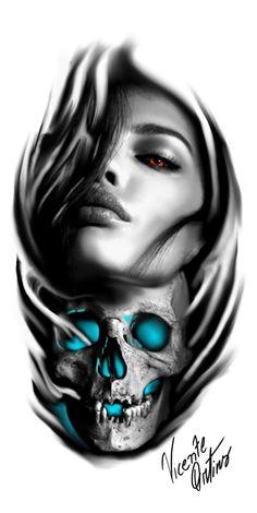 Tattoo sleeve realistic black 17 ideas Tattoo sleeve realistic black 17 ideas Image by Fotografie Skull Girl Tattoo, Girl Face Tattoo, Skull Tattoo Design, Tattoo Sleeve Designs, Skull Tattoos, Forearm Tattoos, Body Art Tattoos, Girl Tattoos, Tattoo Sleeves