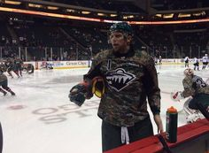 Camo jerseys to be auctioned off soon to benefit Defending the Blue Line. How cool do they look? #mnwild