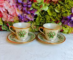 2 Beautiful Lenox Porcelain Cups & Saucers ~ Holiday ~ Holly ~ Gold #Lenox