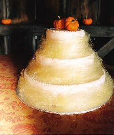An ethereal spun sugar and pumpkin wedding cake