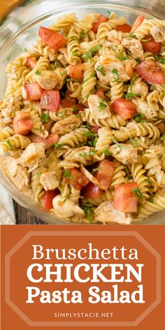 Bursting with fresh summer flavour, this Bruschetta Chicken Pasta Salad is a hit at a family BBQ! It tastes even better the next day. Best Pasta Salad, Greek Salad Pasta, Soup And Salad, Pasta Salad With Chicken, Chicken Macaroni Salad, Healthy Chicken Pasta, Pasta Recipes, Chicken Recipes, Dinner Recipes
