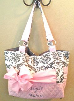 Diaper Bag In Grey & White Damask Print With Light Pink by CeeJaze, $95.00