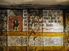 Parlour Wall Paintings, Little Moreton Hall Antique Tiles, Antique Paint, Little Moreton Hall, French Wallpaper, Antique French Furniture, Painted Walls, Wall Paintings, Jacobean, Black Letter