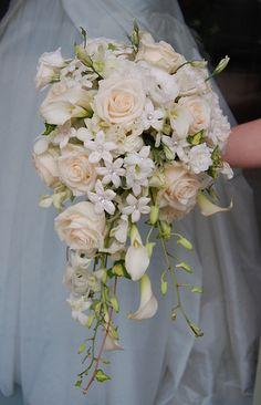 Cascade Bridal Bouquet    White flowers such as roses, mini callas, stehanotis and orchid create this simple but elegant bridal bouquet