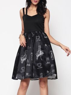 Cartoon Printed Backless Charming Spaghetti Strap Skater-dress #Dresses, #Fashion, #SkaterDresses, #Womens