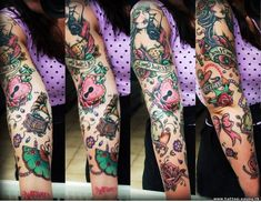 Impressive Old School Tattoo On Full Sleeve