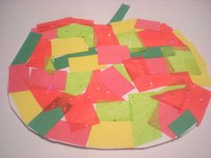 Different types of papers can teach about textures on this Rosh HaShana apple.    Ages 3-6  Materials:  Cardboard Scissors Red, yellow and green construction paper or tissue paper Glue stick  Directions:  Cut out an apple from the card