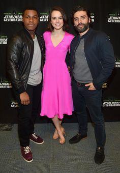 Daisy Ridley, Oscar Isaac and John Boyega at the Star Wars Celebration