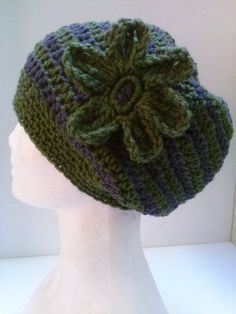 Olive Green and Charcoal Gray Stripe Flower Hat | Surprise Designs