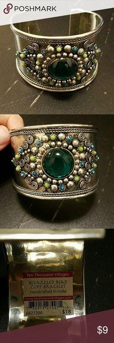 EUC silver tone cuff bracelet Bought it & it has just sat in my jewelry box! Nice detail & pretty blue & green stones Ten Thousand Villages Jewelry Bracelets