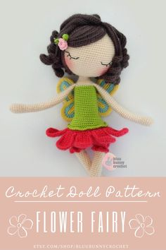Flower Fairy Crochet Doll Pattern -ENG- ESP - Fairy Amigurumi Doll Pattern, Poppy Flower Crochet, 14,5 inches - 37cm Ballerina Skirt, Tutu Flower Fairy Crochet Doll - POPPY Amigurumi Crochet Pattern. Ballerina Crochet Doll Pattern 14,5 inches - 37cm English/ESPAÑOL This is a DOWNLOADABLE TUTORIAL. English version is us terminology. Crochet Doll Pattern, Crochet Patterns Amigurumi, Amigurumi Doll, Crochet Dolls, Easy Beginner Crochet Patterns, Crochet For Beginners, Diy Craft Projects, Crochet Projects, Ballerina Doll