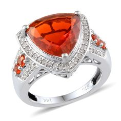 14K White Gold Jalisco Fire Opal and Diamond Ring | Liquidation Channel