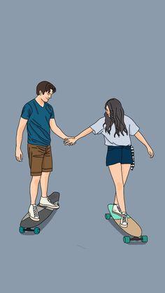 Cute Couple Drawings, Cute Couple Art, Anime Couples Drawings, Cute Drawings, Cute Couple Pictures, Cute Couples, Couple Illustration, Illustration Art, Cover Wattpad