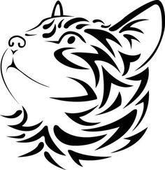 Tribal Cat Face looking left vinyl decal