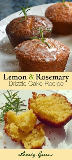 Recipe for Lemon and Rosemary Drizzle Cake - a complex and modern twist on the ordinary Lemon cake! from Lovely Greens  #cake