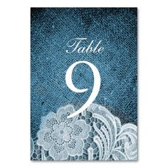 rustic navy blue burlap lace country wedding table card