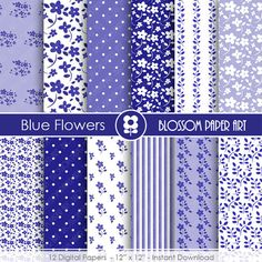 Blue Digital Paper Blue Flowers, Scrapbooking Paper Pack, Blue Floral Papers - INSTANT DOWNLOAD - 1770