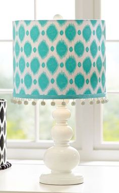 Add a bright pop of color and pattern to your space with this chic Ikat Dot Shad. Add a bright pop Teal Table Lamps, Bedside Table Lamps, Blue Bedroom, Bedroom Decor, Bedroom Ideas, Teal Color Schemes, Color Tones, My Living Room, My Room