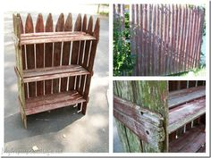 Cute garden shelf, from an old picket fence.  great idea for old grape stakes too!