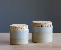Pair of stoneware corked canisters - custom color - minimal modern utilitarian handmade pottery by vitrifiedstudio