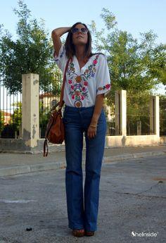 White V Neck Short Sleeve Embroidery Loose Blouse - Sheinside.com   Shirt $33