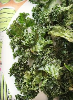 Baked Kale Chips. The healthy answer to that crunchy chip craving. Make a lot because they won't last.
