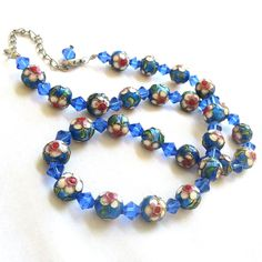 Cloisonne Crystal Bead Necklace Blues, Red & Green with Gold Beading Vintage by MyVintageJewels on Etsy