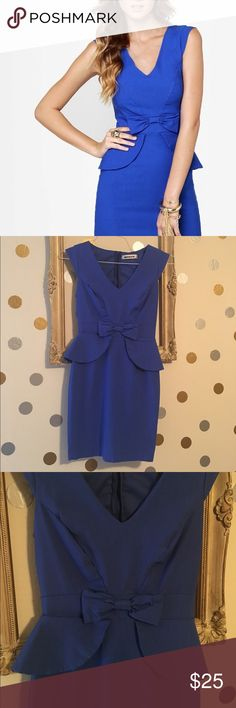 Cobalt Blue Peplum Dress Stunning body con cobalt blue peplum dress! Size M. Fits a size 4. 32 inches from top to bottom. Stretchy type material that is figure flattering.  Worn a couple of times. Bought at Lulus. Brand is Mystic. Lulu's Dresses Mini