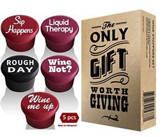Wine Stoppers - 5 Wine Stoppers  Gift Box  Perfect Wine Gift Accessory Set of 5 Funny Silicone Wine Reusable Caps Stoppers for Wine and Beer Bottles -- See this great product.