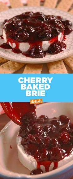 Making Cherry Baked Brie - Cherry Baked Brie How To Video Brie Cheese Recipes, Baked Brie Recipes, Recipes Appetizers And Snacks, Sweet Recipes, Fondue Recipes, Party Appetizers, Party Snacks, Brie Bites, Cherry Sauce