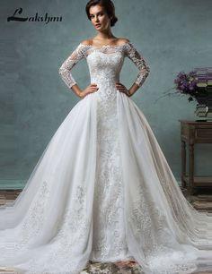 56a8b056c6a Custom Made Modest Detachable Skirt Amelia Sposa Wedding Dresses Off  Shoulder Long Sleeve Mermaid Bridal Gowns casamento