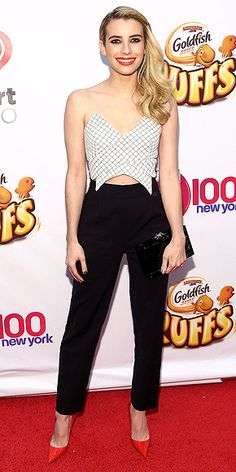 in a strapless crop top, navy Osman skinnies and cherry-red pumps at the Jingle Ball in N.Y.C. (dec 2014)
