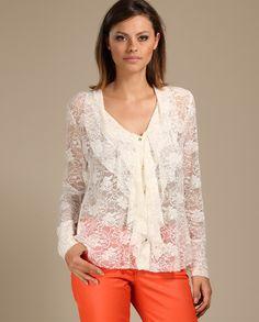 De:R$ 219,90 Por:R$131,94 Camisa de Renda com Babados - TVZ - Camisas no Claire