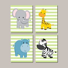Safari Nursery Wall Art - Prints Or Canvas - Boy Nursery Pictures - Jungle Animals - Safari Prints - Zoo Animals - Aqua Blue Set of 4 Prints - Choose Your Colors ♥ Love this item but cant wait for shipping? Want to print at home or a photo lab? Purchase the listing below to order