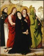 Juan de BORGONA (Connu en Castille à partir de 1494 - Tolède, 1536)  La Vierge, saint Jean, deux saintes femmes et saint Dominique de Guzman  Vers 1515  H. : 1,34 m. ; L. : 1,06 m.  Acquis en 1993 , 1993  R.F. 1993-19