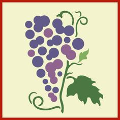 Grape 1 Stencil -- a bunch of grapes with leaves and tendrils