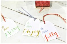 Free download Oh Joy! Holiday luggage gift tags from Smitten On Paper