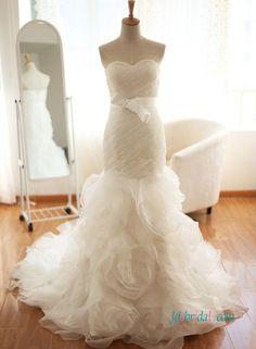 Stunning strapless rosette organza mermaid wedding dress inspired