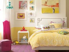 ideas for L big girl room: love the nail head detail on the head board & wall paint treatment