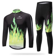 63.06$  Buy here - http://aij1l.worlditems.win/all/product.php?id=32758280407 -  green fire long sleeved suit bicycle riding clothes clothing autumn moisture quick drying underwear