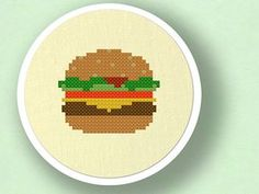 Hamburger. Food Cross Stitch Pattern PDF File by andwabisabi