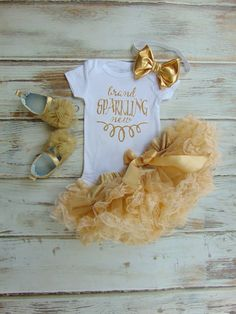 Brand Sparkling New Gold Glitter One Piece & Headband - NB Birth Announcement Shirt - Take Home Outfit - Baby Shower Gift