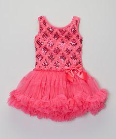 Look at this #zulilyfind! Fuchsia Sequin Rosette Dress - Infant, Toddler & Girls #zulilyfinds