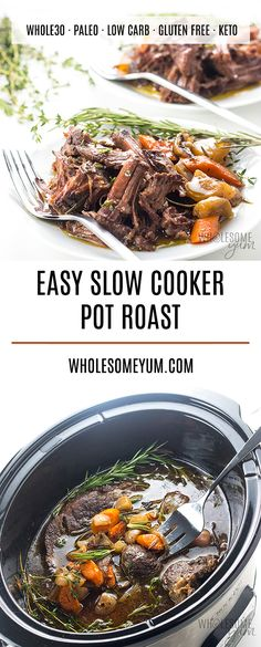 Keto Low Carb Pot Roast Slow Cooker Recipe - The BEST slow cooker pot roast! Keto Low Carb Pot Roast Slow Cooker Recipe - The BEST slow cooker pot roast! Includes how to choose the cut of meat for pot roast, prep tips, freezing pot roast, Crock Pot Recipes, Pot Roast Recipes, Beef Recipes, Beef Tips, Recipes Dinner, Fish Recipes, Low Carb Slow Cooker, Healthy Slow Cooker, Best Slow Cooker