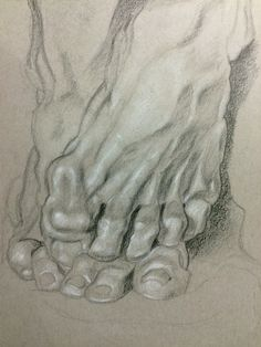 "Sculpture drawing of ""Ugolino and his Sons"". Feet only. Toned Gray paper"