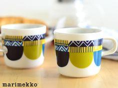 marimekko(マリメッコ)LAMPPUPAMPULA(ランップパンプラ)ブルーコーヒーカップ(マグカップ)持ち手あり