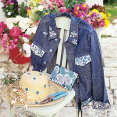 Une veste en jean ornée de Liberty© // denim jacket, liberty, flowers
