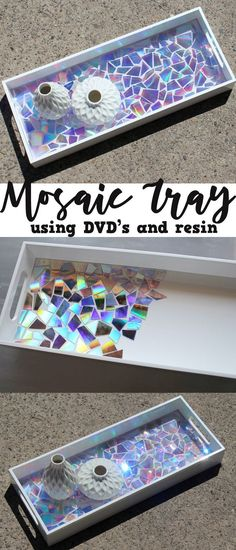 This DVD Mosaic High Gloss Resin Tray makes a statement! Use old DVD's as mosaic… This DVD Mosaic High Gloss Resin Tray makes a statement! Use old DVD's as mosaic tiles and create a stunning work of art sealed with Envirotex Lite High Gloss resin finish. Diy Craft Projects, Diy Home Crafts, Fun Crafts, Wood Crafts, Diy Wood, Recycled Crafts, Old Cd Crafts, Cute Diy Crafts For Your Room, Fun Diy Projects For Home